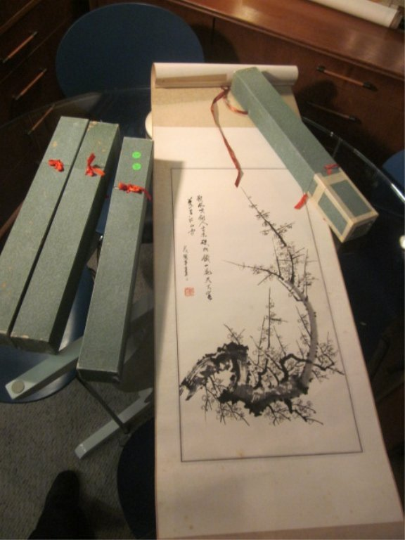 24: FOUR ORIENTAL SCROLLS, SOLD TOGETHER, IMAGE SIZE AP
