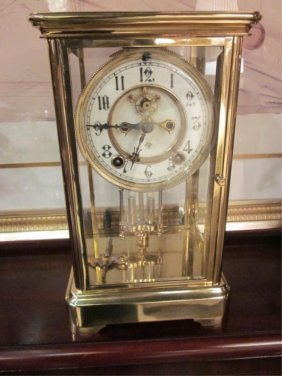 102: ANSONIA MERCURY PENDULUM MANTEL CLOCK, BEVELED GLA