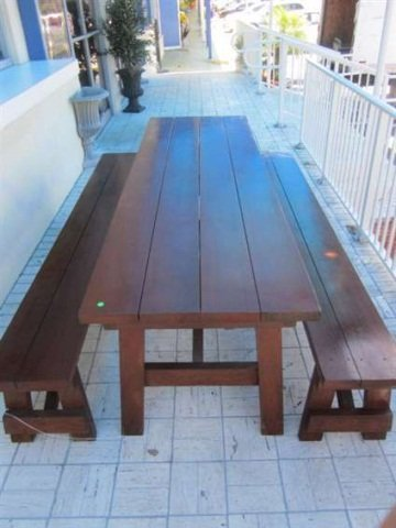 4: BEAUTIFUL INDOOR OR OUTDOOR PICNIC TABLE AND PAIR OF