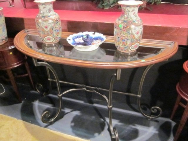 5: DEMI LUNE CONSOLE TABLE WITH SCROLLING METAL BASE, M