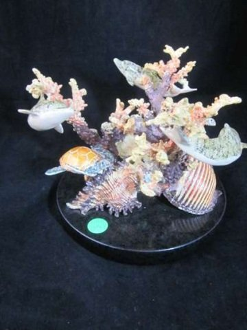 6: BRONZE SCULPTURE, CORAL REEF, COLORFUL POLYCHROME BR