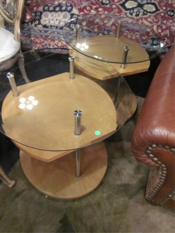 9: PAIR OF CONTEMPORARY TABLES WITH LIGHT FINISH WOOD,