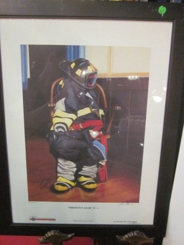 """10: LIMITED EDITION LITHOGRAPH, """"FIREMAN'S GEAR II"""" NUM"""