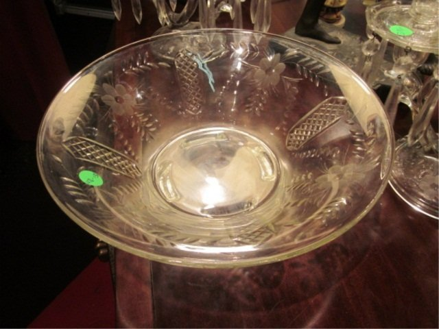 """22: VINTAGE ETCHED GLASS BOWL, 11.75"""" ROUND"""