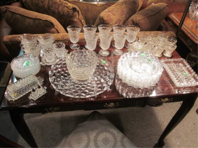 15: 49 PC SET VINTAGE FOSTORIA GLASS SERVICE WITH MANY