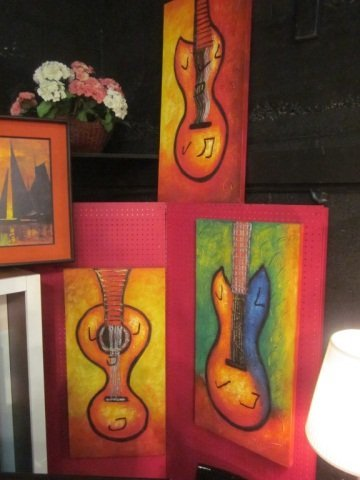 "2: 3 PC SET - GICLEES ON CANVAS, GUITARS, APPROX 24"" X"