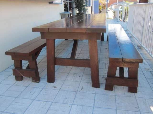 3: BEAUTIFUL INDOOR OR OUTDOOR PICNIC TABLE AND PAIR OF