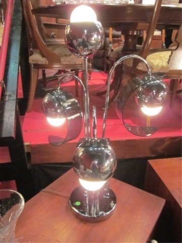 5: CONTEMPORARY CHROME TABLE LAMP, 4 LIGHTS WITH CURVED