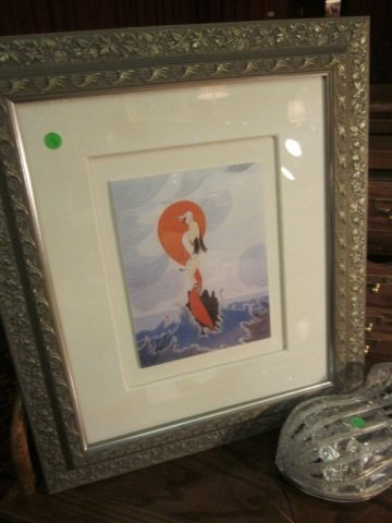 "7: FRAMED ERTE PRINT, ART DECO GIRL ON ROCK, 24"" X 21"""