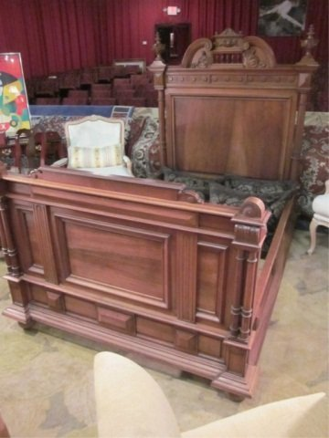8: ANTIQUE C. LATE 1700'S BED, RICHLY CARVED HEADBOARD