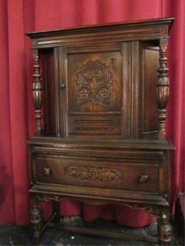 13: VINTAGE C. 1920's JACOBEAN STYLE HUTCH WITH DARK FI