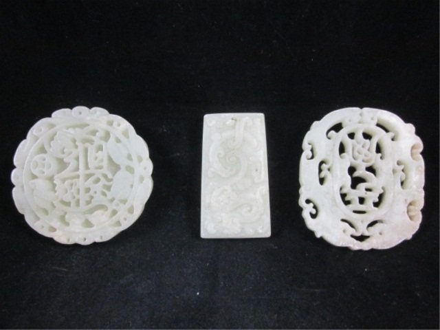 2: 3 PIECE GROUP OF CARVED JADE PENDANTS - APPROX 2 1/2
