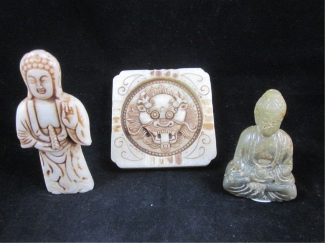 3: 3 PIECE GROUP OF CARVED STONE - STANDING BUDDHA APPR