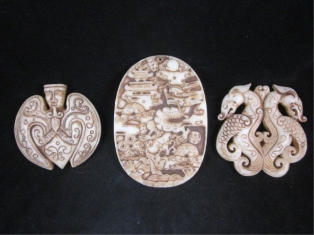 4: 3 PIECE GROUP OF CARVED STONE PENDANTS - APPROX 2 1/