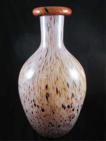 "14: AMBER ART GLASS VASE, APPROX 17 1/2"" HIGH"