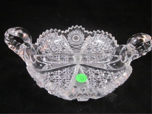 "15: CUT CRYSTAL DIVIDED TRAY WITH HANDLES, APPROX 10"" A"