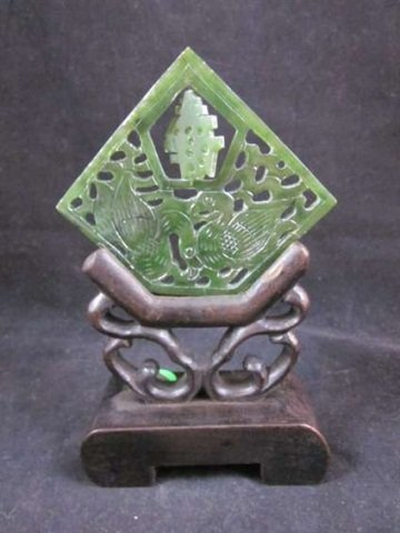 7: CARVED JADE, DIAMOND SHAPE WITH STAND, APPROX 5 1/8""
