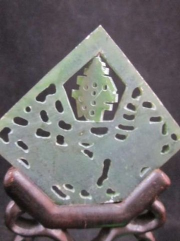 "7: CARVED JADE, DIAMOND SHAPE WITH STAND, APPROX 5 1/8"" - 5"