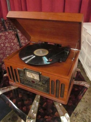 12: CROSLEY CR74 MUSICIAN ENTERTAINMENT CENTER - WITH P