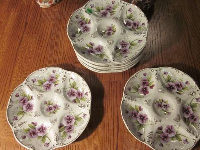 16: SET OF EIGHT OYSTER PLATES, MARKED LIMOGES CHINA, A