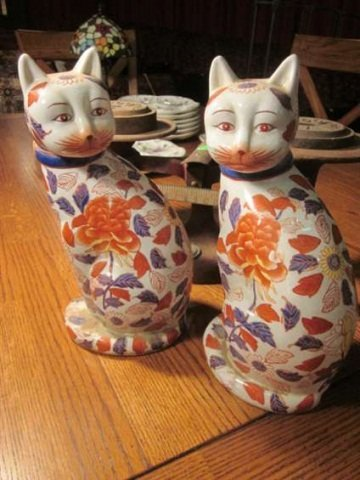 "17: TWO CERAMIC CATS, APPROX 10 1/2"" HIGH"