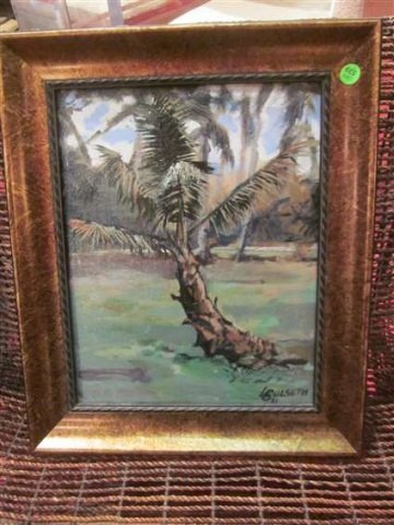 21: ORIGINAL OIL PAINTING ON BOARD - PALM TREE - SIGNED
