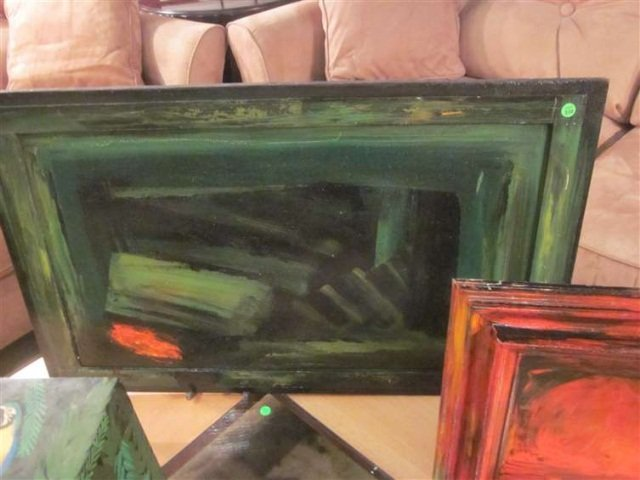 23: ABSTRACT PAINTING IN GREEN, UNSIGNED, FRAME AND CAN