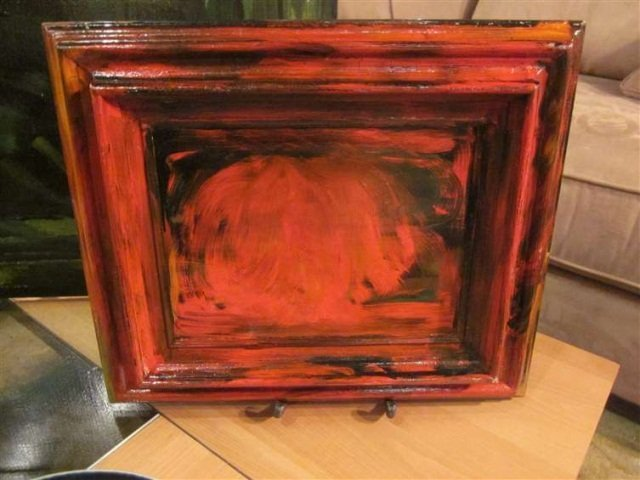 24: ABSTRACT PAINTING IN RED, UNSIGNED, FRAME AND CANVA