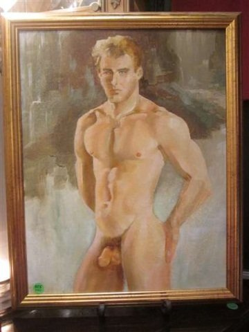 29: ORIGINAL PAINTING ON CANVAS - NUDE MAN - ATTRIBUTED