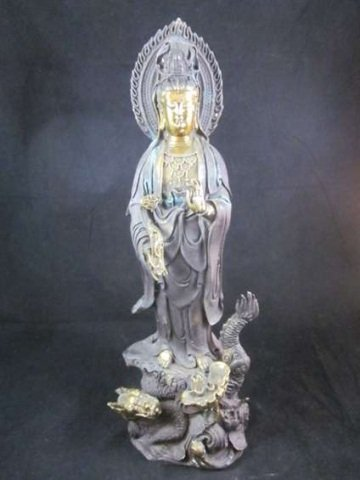 69: VINTAGE BRONZE & BRASS QUAN YIN WITH CALLIGRAPHY, A