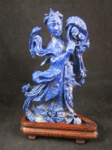 """71: CARVED LAPIS WOMAN WITH BASKET, APPROX 5 3/4"""" HIGH,"""