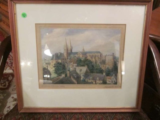 79: ANTIQUE ORIGINAL WATERCOLOR ON PAPER, CATHEDRAL ST.