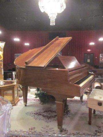 85: VINTAGE 1920's KIMBALL WALNUT BABY GRAND PIANO, 5'3