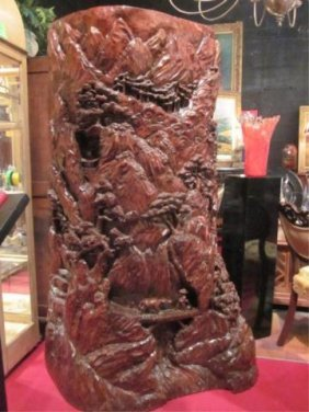 HUGE CHINESE WOOD SCULPTURE, CARVED SOLID TREE TRU