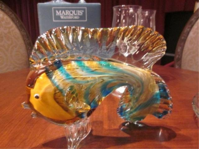 """75A: MURANO STYLE ART GLASS FISH SCULPTURE, APPROX 7"""" H"""