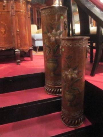 5: 2 PC SET ORNATE METAL FLOOR VASES WITH PAINTED FLORA