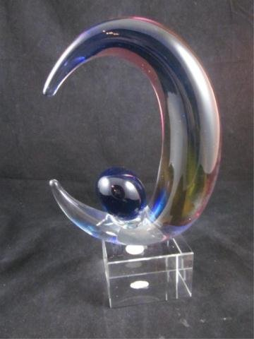 9A: MURANO STYLE ART GLASS CRESCENT SCULPTURE, APPROX 1 - 4