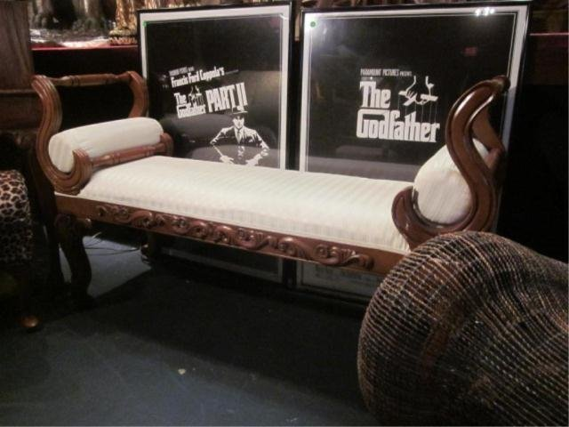 11A: ORNATE CARVED WOOD BENCH WITH ROUND ARM CUSHIONS,