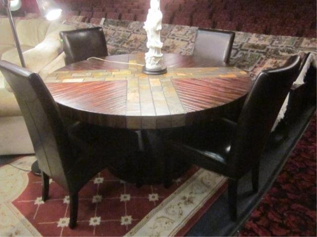 12A: CONTEMPORARY ROUND DINING TABLE WITH SLATE STYLE A - 2