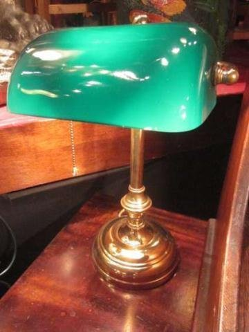 3: BANKER'S LAMP, POLISHED BRASS BASE WITH GREEN GLASS