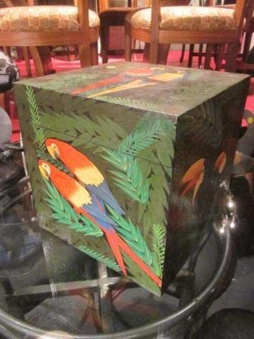 10: HANDPAINTED WOOD BOX, PARROTS AND TOUCANS, APPROX 1
