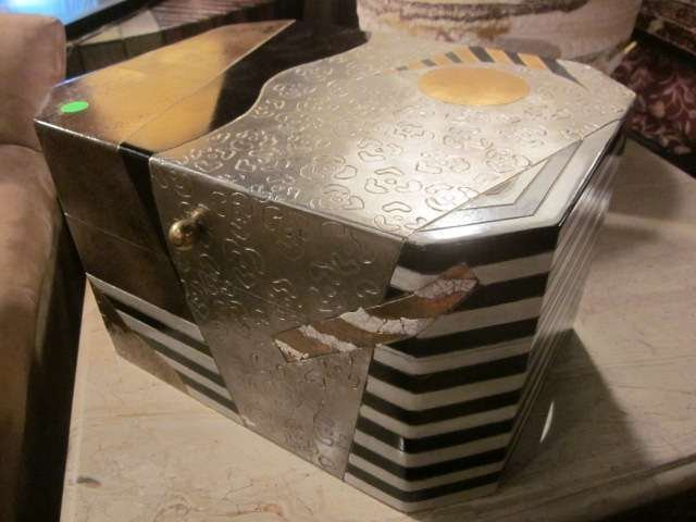 11: ART DECO WOOD CHEST, SILVER AND GOLD ABSTRACT DESIG