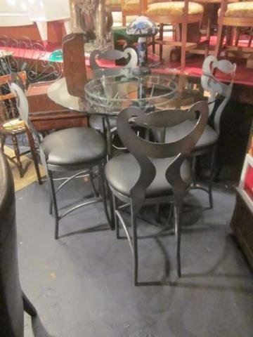24: CONTEMPORARY BISTRO SET, BAR HEIGHT TABLE AND 4 CHA