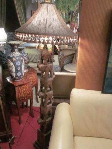 Stacked elephant lamp - 166 Stacked Elephants Floor Lamp With Tasseled Shade