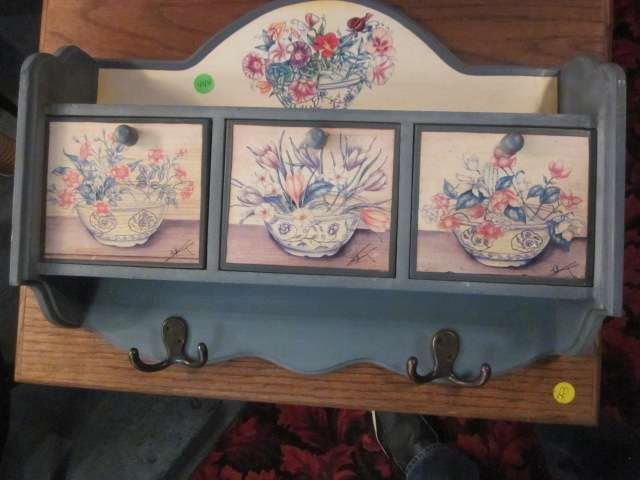 2: PAINTED COATRACK WITH FLORAL DESIGNS, 2 COATHOOKS, 3