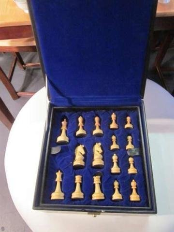 6: CARVED WOOD CHESS PIECES IN CASE