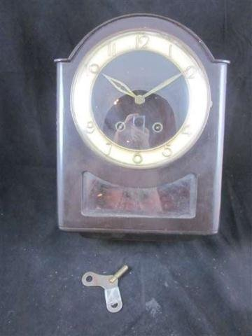 12: VINTAGE CHIMING CLOCK WITH KEY, MADE IN GERMANY, MA