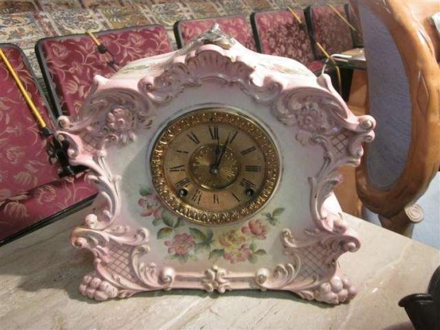 13: VINTAGE ANSONIA CLOCK IN HANDPAINTED PORCELAIN CASE