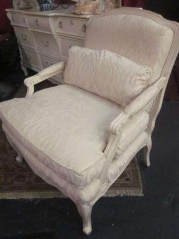 15: FRENCH LOUIS XV STYLE ARMCHAIR, WHITE FRAME WITH WH
