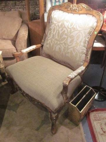 25: FRENCH LOUIS XV STYLE ARMCHAIR, OVERSCALE WITH SILV